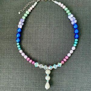 Colorful Freshwater Pearls & Aurora Crystal Set